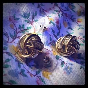 Earrings vintage swirl silver and gold tones